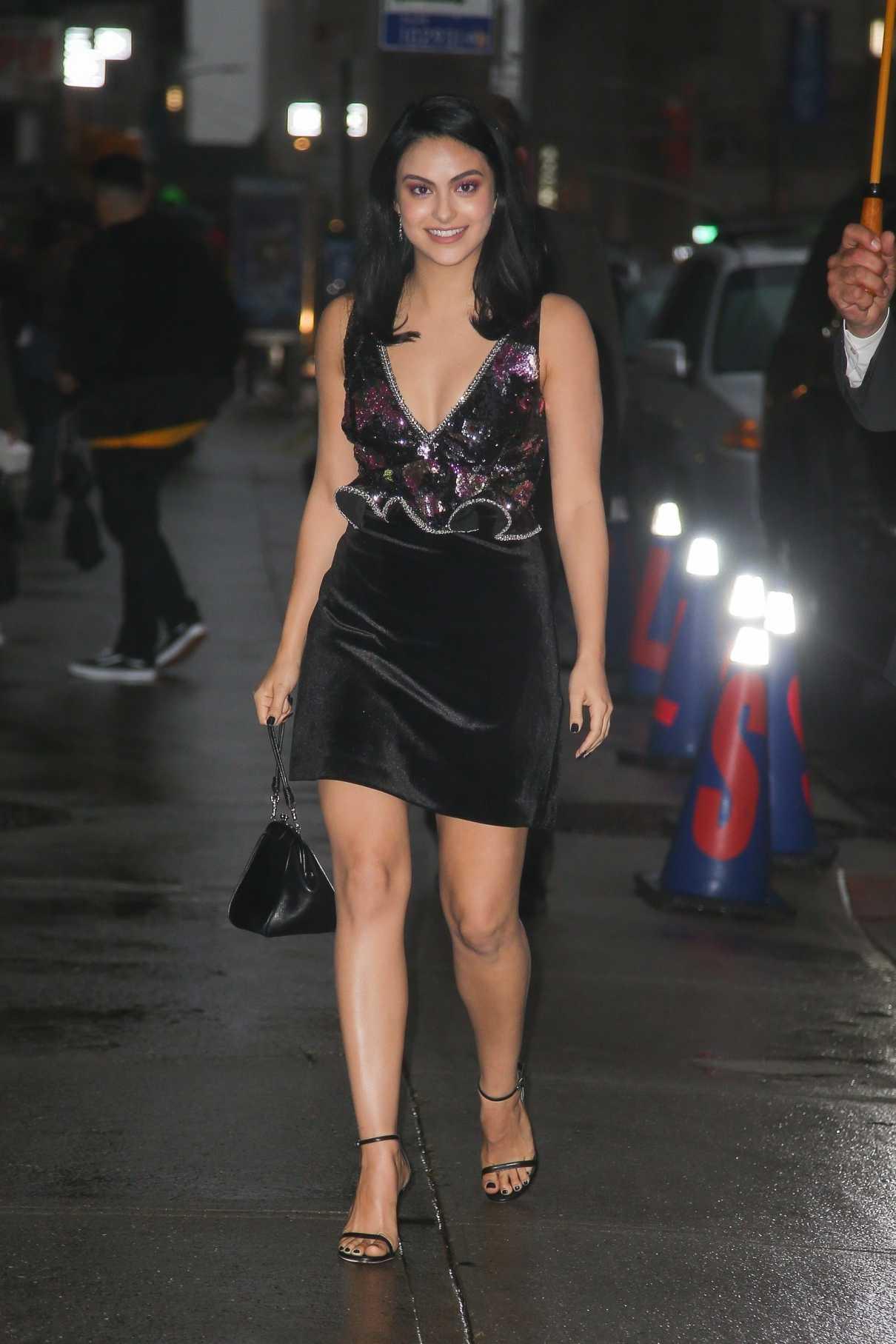 Camila Mendes in a Black Velvet Dress