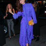 Emmy Rossum in a Purple Dress