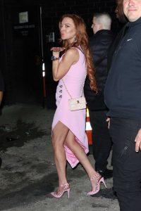 Lindsay Lohan in a Purple Dress