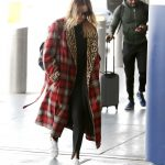 Margot Robbie in a Plaid Coat