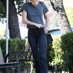 Miley Cyrus in a Gray Tee