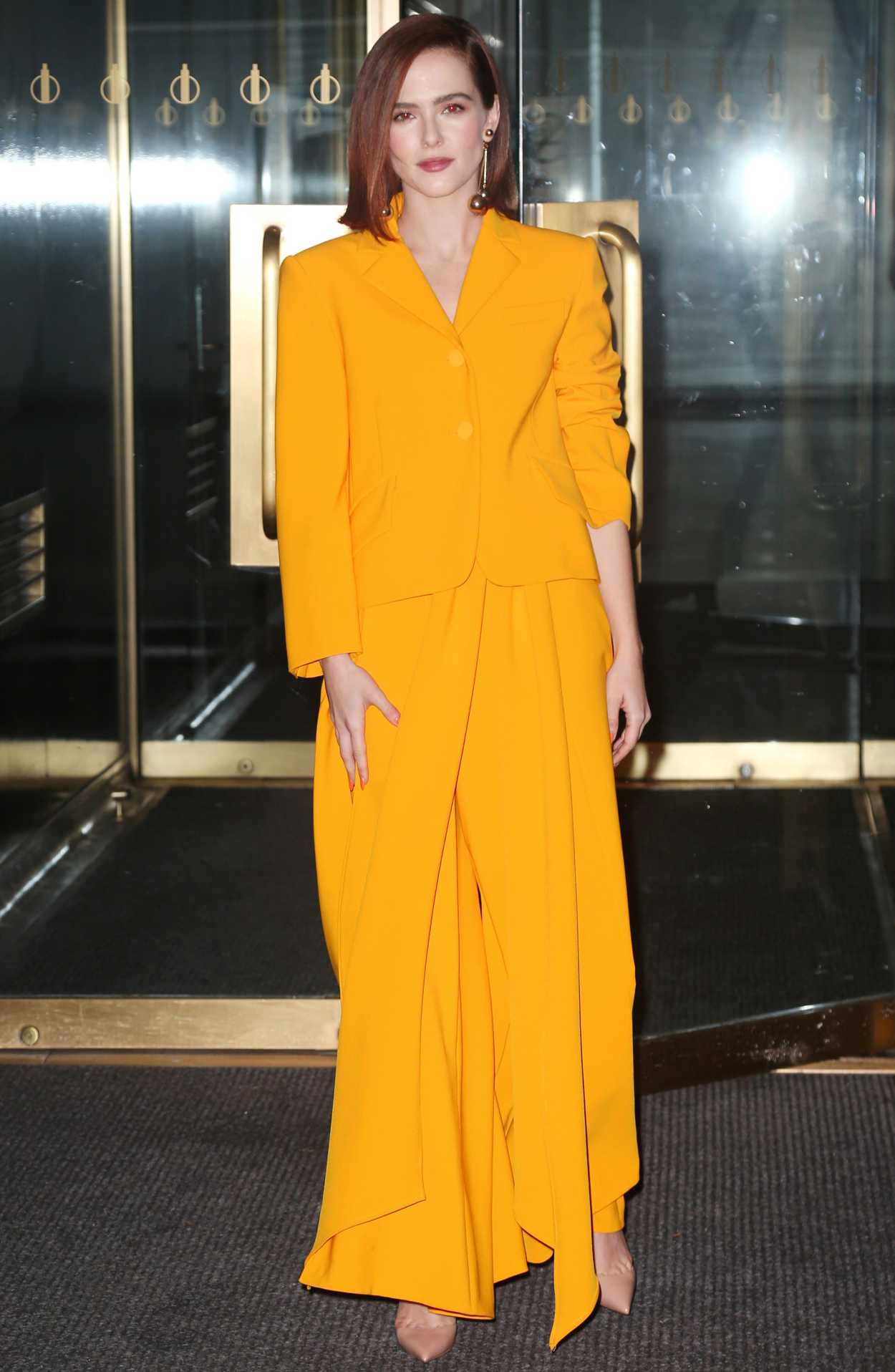 Zoey Deutch in a Yellow Suit