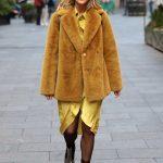 Ashley Roberts in a Yellow Fur Coat