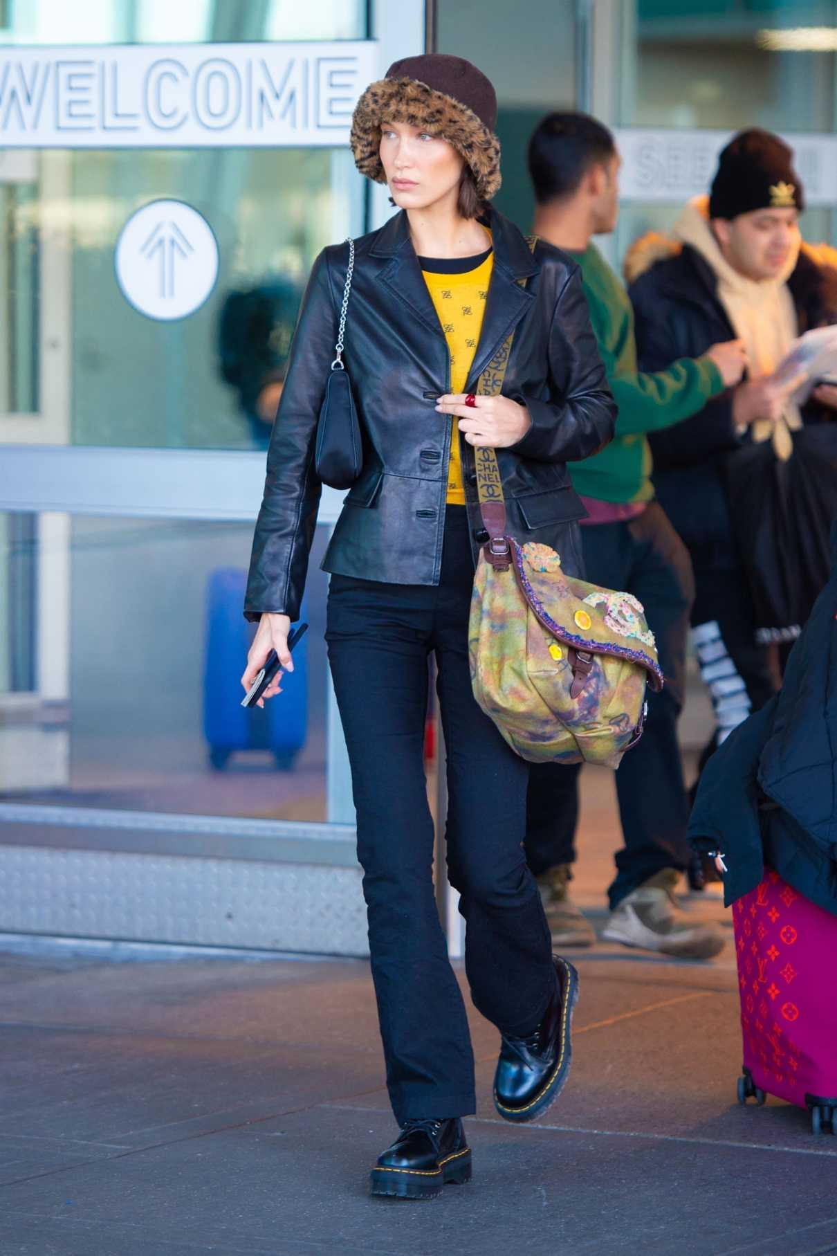Bella Hadid In A Black Dr Martens Boots Leaves Jfk Airport In New York 11 16 2019 Lacelebs Co
