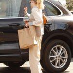 Emma Roberts in a Beige Pants