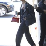 Hailey Baldwin in a Black Leather Jacket Was Seen Out with Her Stylist in West Hollywood 10/31/2019