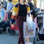 Joey King in a Purple Pants Arrives at the Farmer's Market in LA 11/24/2019