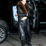 Kendall Jenner in a Black Leather Coat