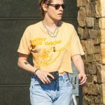 Kristen Stewart in a Yellow Tee