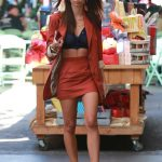 Emily Ratajkowski in a Red Suit