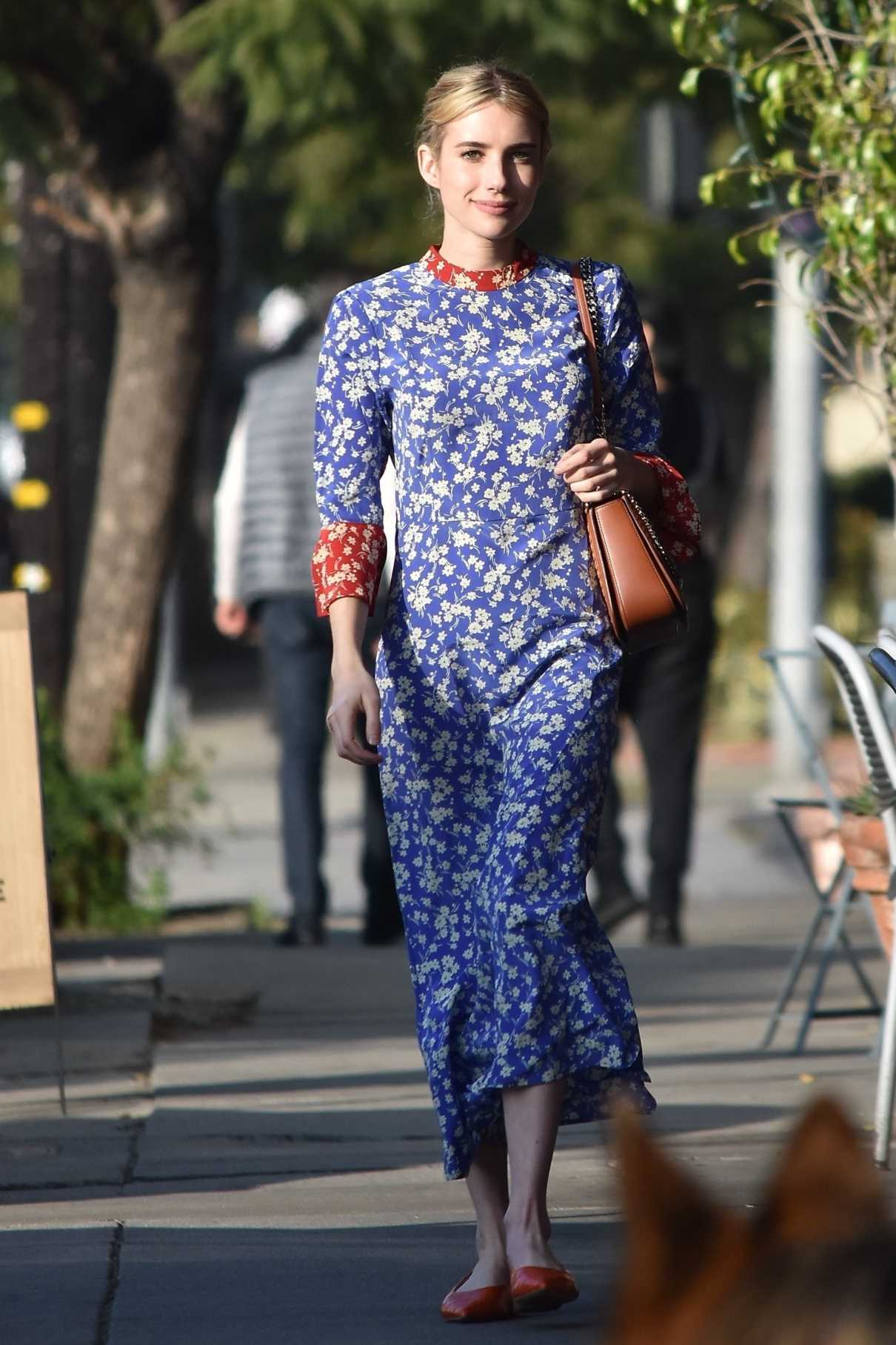 Emma Roberts in a Blue Floral Dress