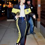 Gigi Hadid in a Black and Yellow Tracksuit