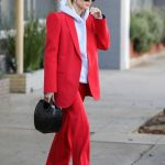 Hailey Baldwin in a Red Suit Was Seen Out in Beverly Hills 12/02/2019