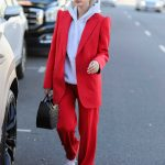 Hailey Baldwin in a Red Suit