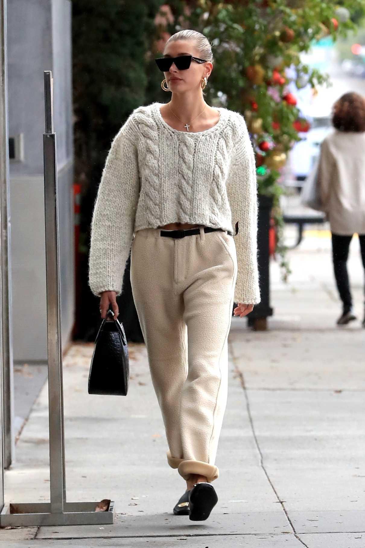 Hailey Baldwin in a White Sweater