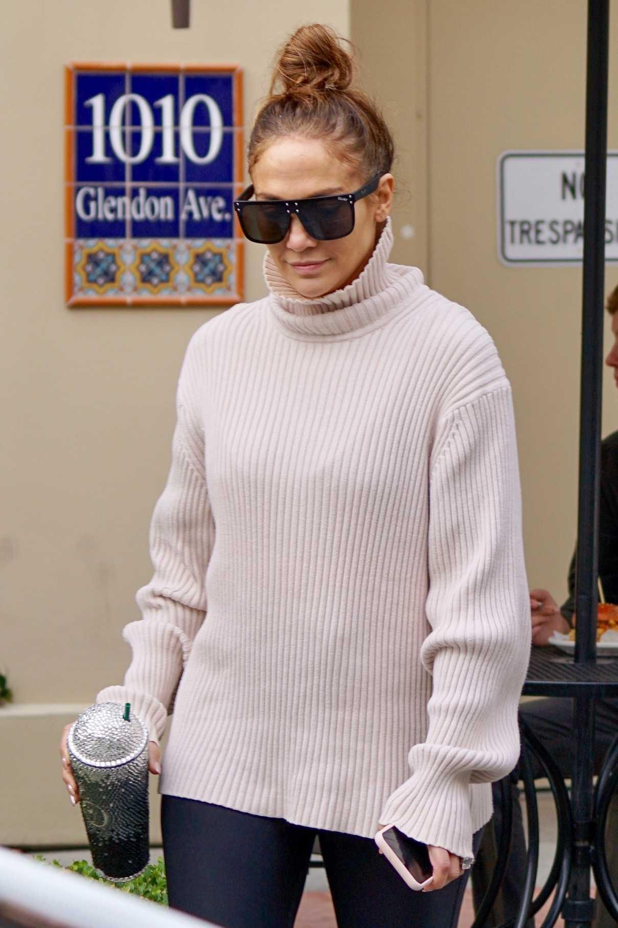 Jennifer Lopez in a Pink Turtleneck