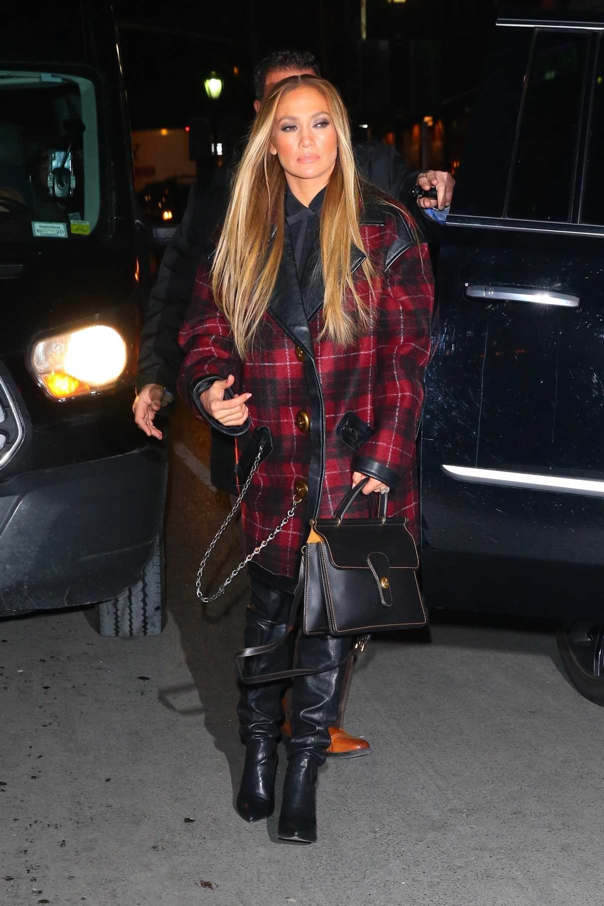 Jennifer Lopez in a Red Plaid Coat