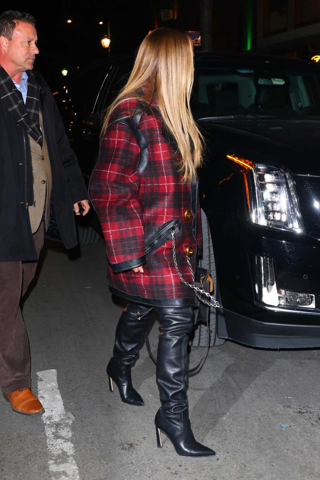 Jennifer Lopez in a Red Plaid Coat