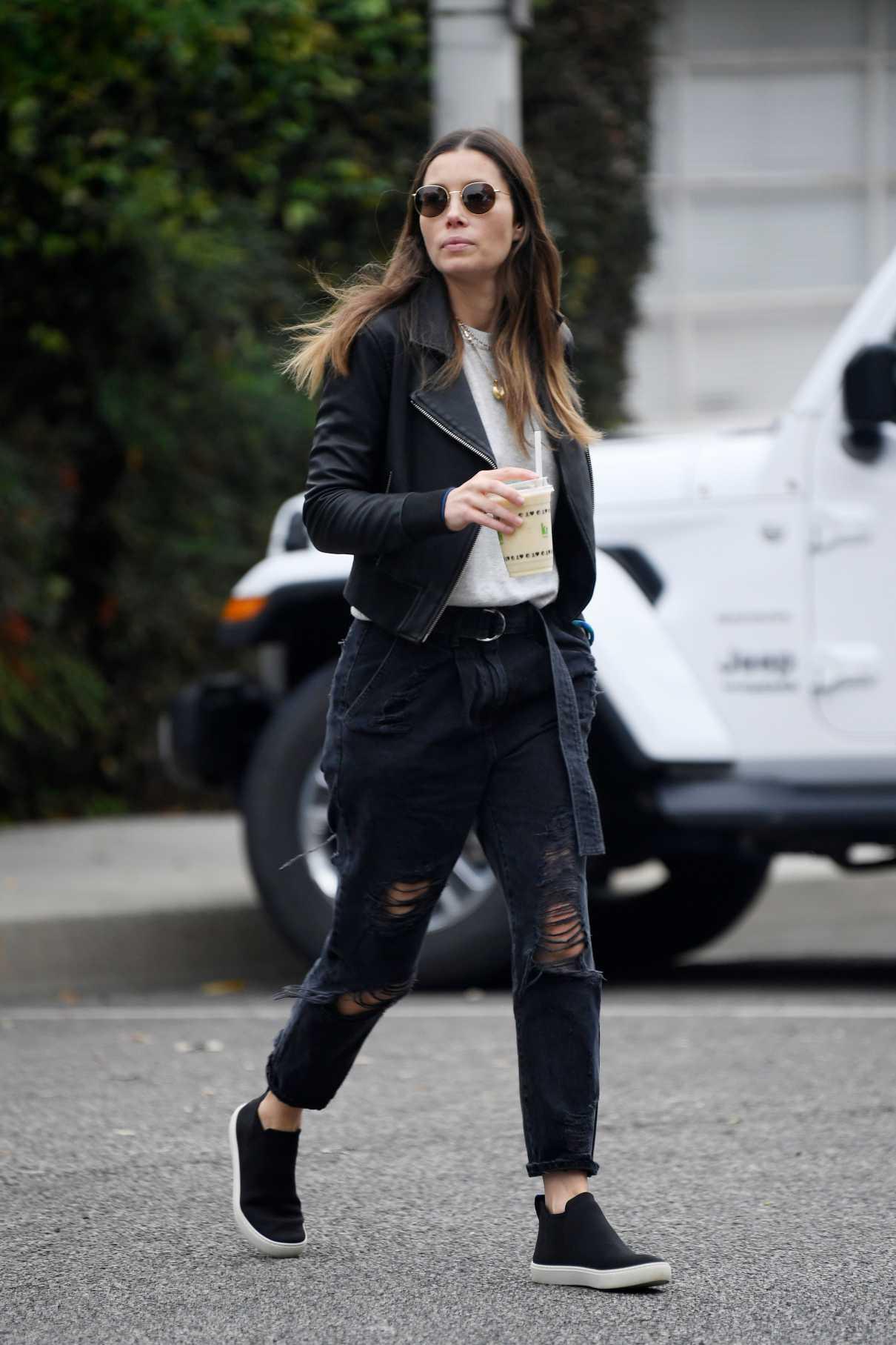 Jessica Biel in a Black Jacket