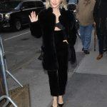 Julianne Hough in a Black Fur Coat