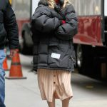 Kaley Cuoco in a Black Puffer Jacket on the Set of The Flight Attendant in Midtown in New York 12/16/2019