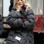 Kaley Cuoco in a Black Puffer Jacket