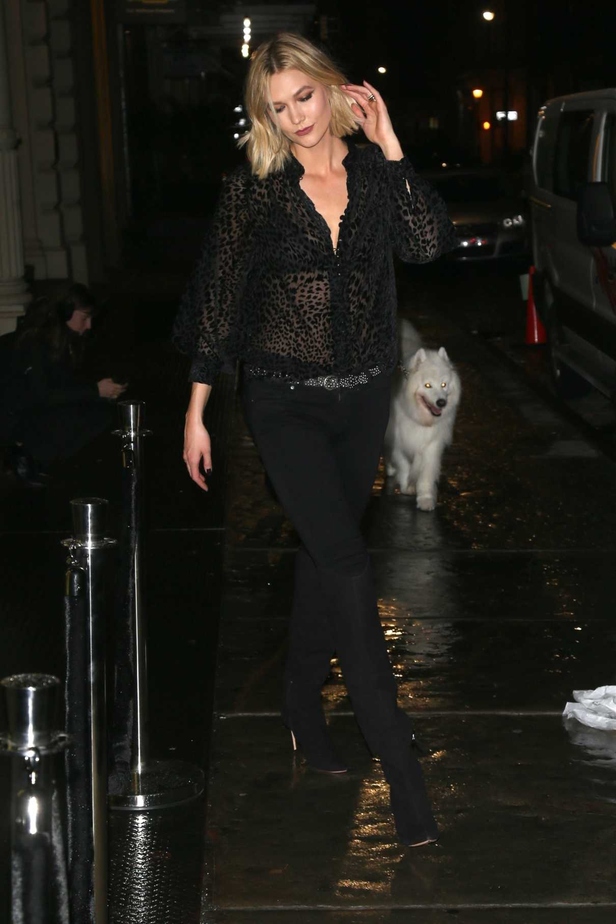 Karlie Kloss in a Black See-Through Blouse