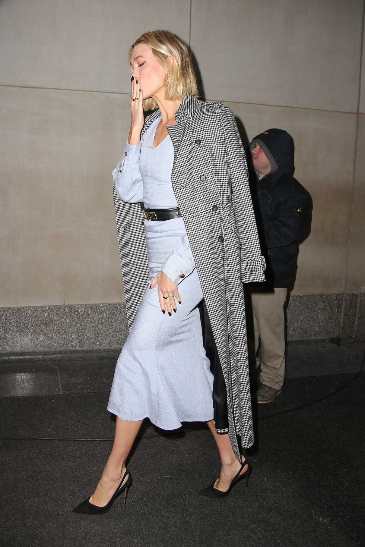 Karlie Kloss in a Gray Coat