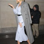 Karlie Kloss in a Gray Coat