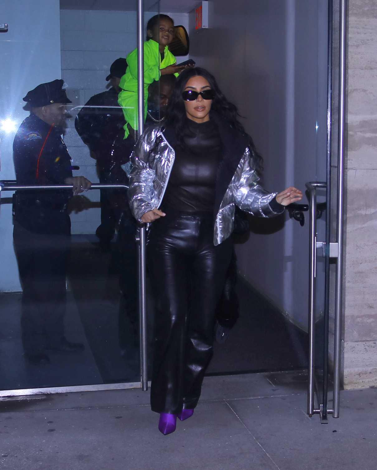 Kim Kardashian in a Black Leather Pants