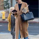Kristen Bell in a Beige Coat