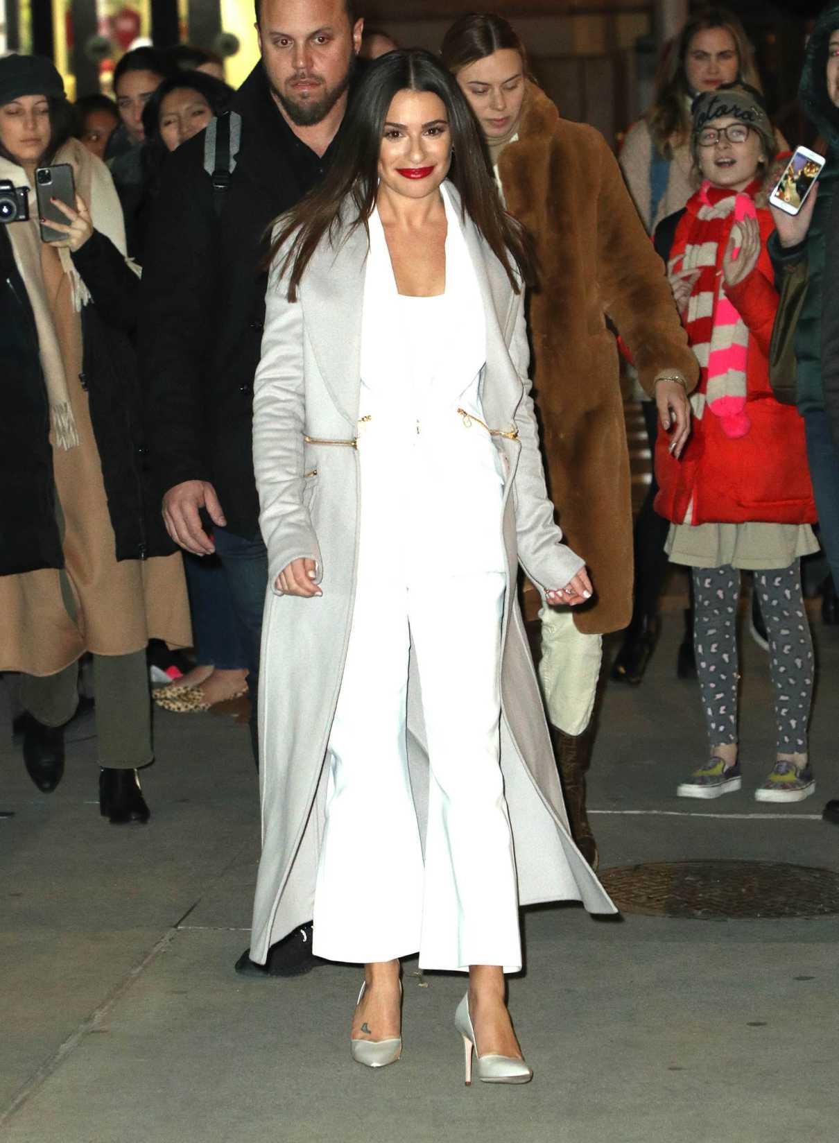 Lea Michele in a Gray Coat