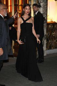 Lily Aldridge in a Black Dress