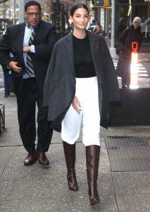 Lily Aldridge in a White Pants