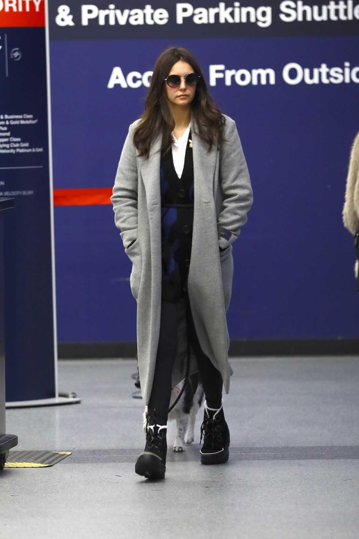 Nina Dobrev in a Gray Coat