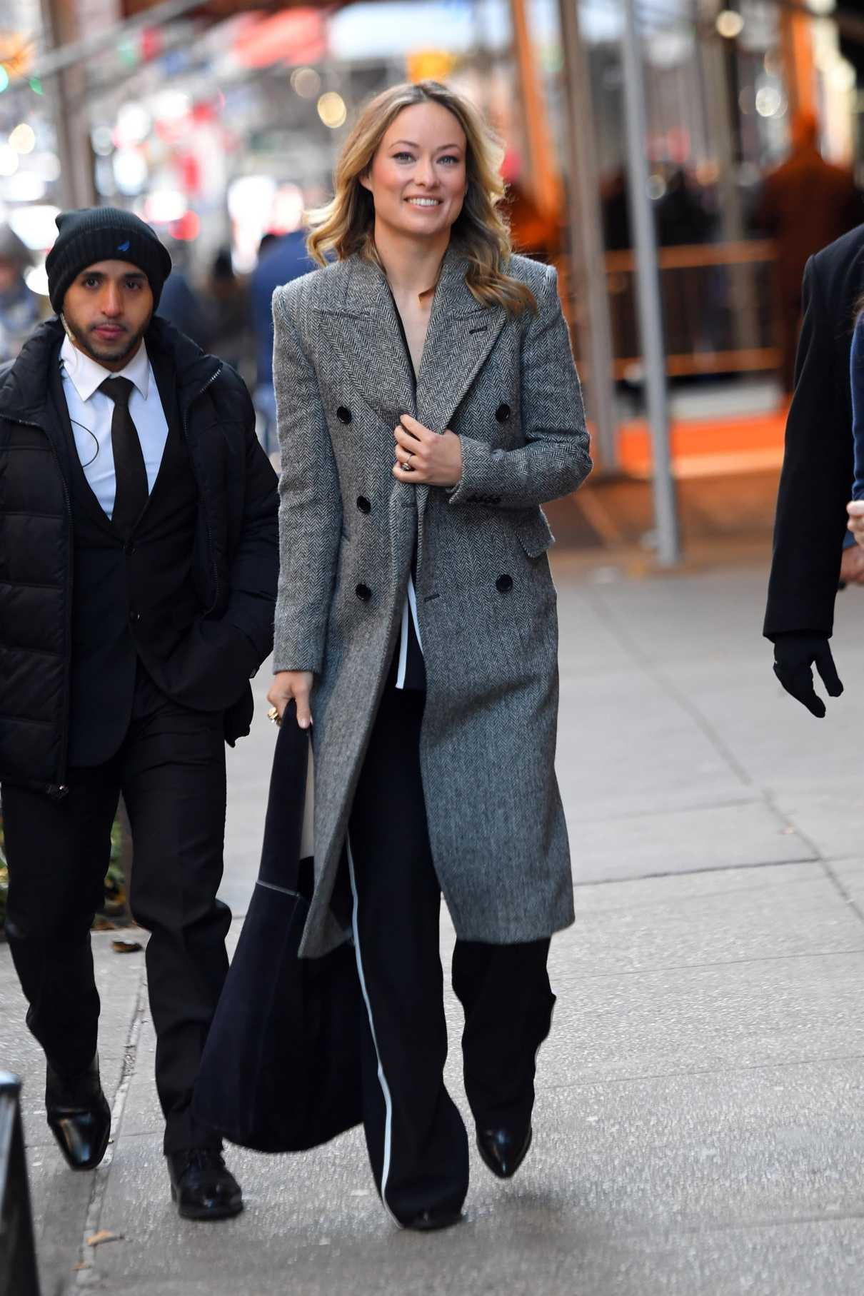 Olivia Wilde in a Gray Coat