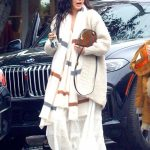 Rumer Willis in a White Dress Goes to a Salon with a Friend in Hollywood 11/30/2019