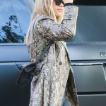 Sofia Richie in a Snakeskin Print Trench Coat