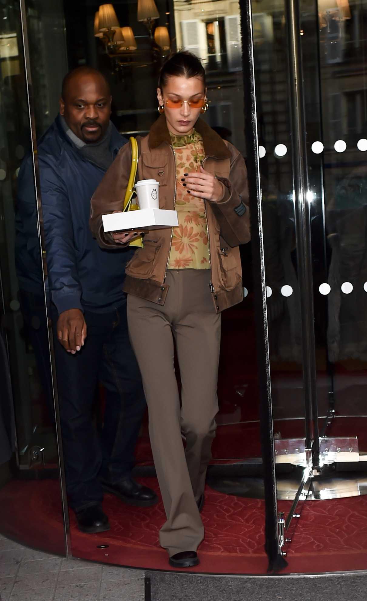 Bella Hadid in a Beige Jacket