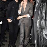 Cara Delevingne in a Gray Suit Arrives at the Dior Mens Fashion Show in Paris 01/17/2020