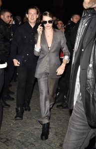 Cara Delevingne in a Gray Suit