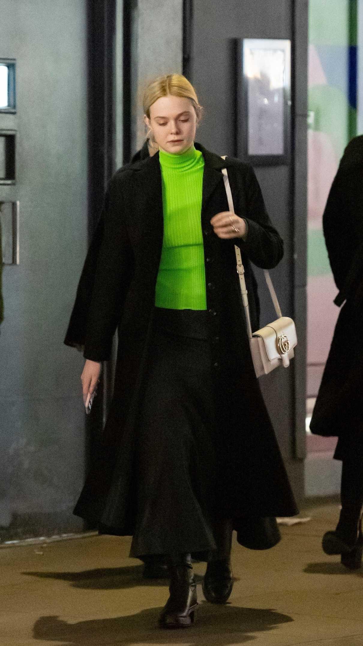 Dakota Fanning in a Neon Green Turtleneck
