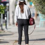 Dakota Johnson in a Gray Knit Hat