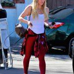 Hilary Duff in a Red Leggings
