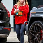 Hilary Duff in a Red Sweatshirt