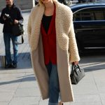 Karlie Kloss in a Beige Fur Coat