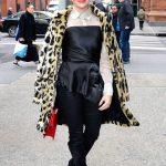 Katie Stevens in a Leopard Print Fur Coat