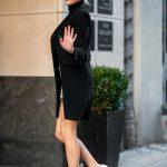 Kelsea Ballerini in a Black Coat