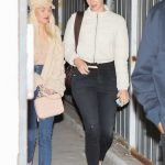 Lana del Rey in a White Jacket Leaves Wednesday Evening Church Services with a Friend in Los Angeles 01/22/2020