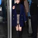 Anna Kendrick in a Blue Coat Arrives at BBC Radio 1 in London 02/13/2020